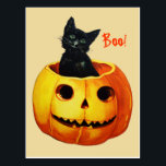 "Cat in Pumpkin Vintage Halloween Postcard<br><div class=""desc"">Vintage Ellen Clapsaddle Halloween postcard from series 1237 showing a very cute cat sitting in a pumpkin. Reprinted on this Halloween postcard.</div>"