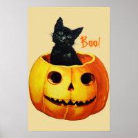 Cat in Pumpkin Vintage Halloween Poster