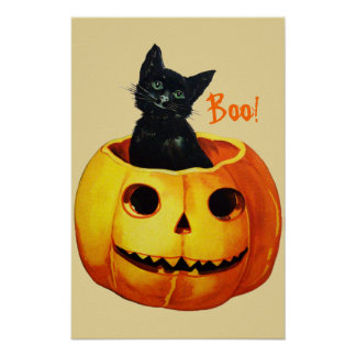Cat in Pumpkin Vintage Halloween Poster