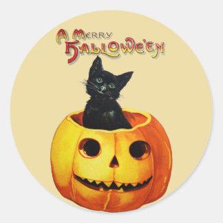 Cat in Pumpkin Vintage Halloween Stickers