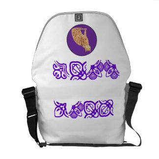 Cat In Purple Messenger Bags