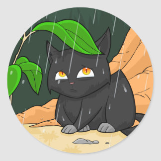 Cat in rain Sticker