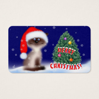 Cat in Santa Hat Business Card