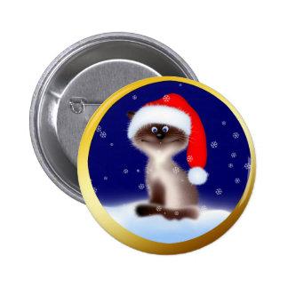 Cat in Santa Hat Button