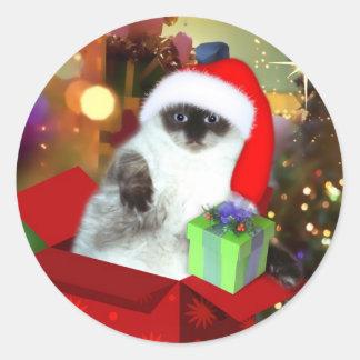 Cat in Santa Hat Classic Round Sticker