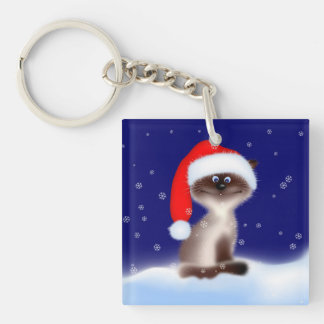 Cat in Santa Hat Double-Sided Square Acrylic Keychain
