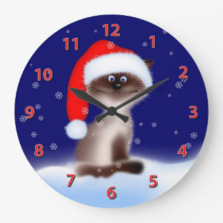 Cat in Santa Hat Large Clock