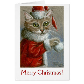 Cat in Santa Hat, Merry Christmas! Note Card
