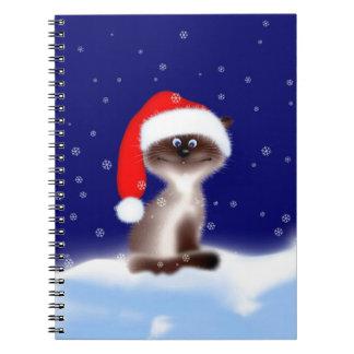 Cat in Santa Hat Notebook