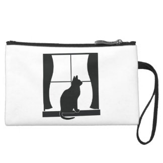 Cat in Silhouette Sitting at the Window Wristlet