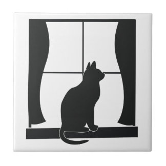 Cat in Silhouette Sitting at the Window Tile
