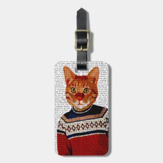 Cat in Ski Sweater 2 Luggage Tag