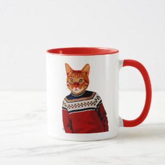 Cat in Ski Sweater 2 Mug