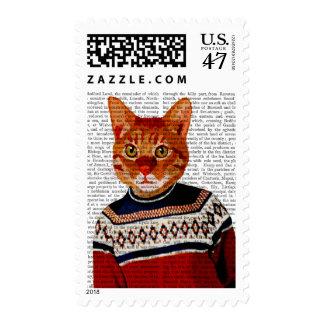 Cat in Ski Sweater 2 Postage Stamp