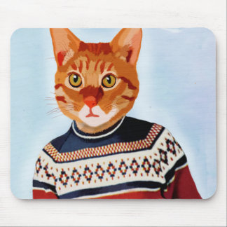 Cat in Ski Sweater Mouse Pad