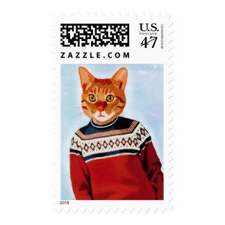 Cat in Ski Sweater Postage Stamp