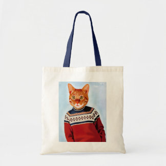 Cat in Ski Sweater Tote Bag