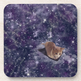 Cat In Space Purple Galaxy Drink Coaster