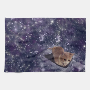 Cat In Space Purple Galaxy Hand Towel at Zazzle