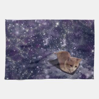 Cat In Space Purple Galaxy Hand Towel