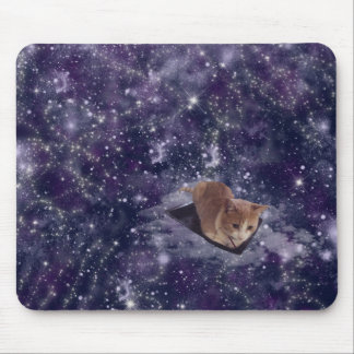 Cat In Space Purple Galaxy Mouse Pad