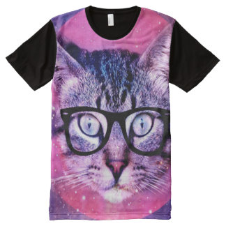 Cat in Space purple galaxy trendy All-Over-Print Shirt