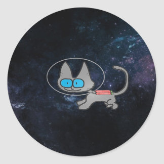 Cat In Space With His Jetpack On Round Sticker