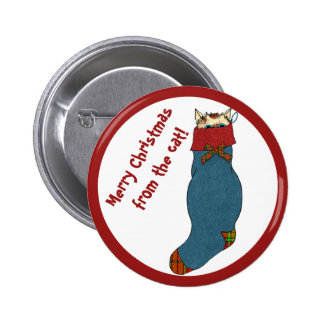 Cat in Stocking Wishes a Merry Christmas Button