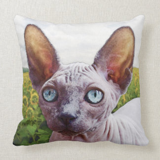 Cat In Sunflowers Throw Pillow