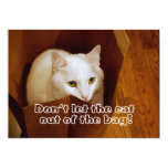"""Cat in the Bag Surprise Birthday Party Invitation 5"""" X 7"""" Invitation Card"""
