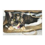 Cat in the Bag Watercolor Painting Wrapped Canvas Stretched Canvas Print