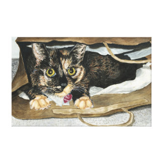 Cat in the Bag Watercolor Painting Wrapped Canvas