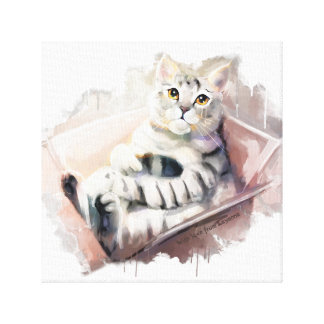 Cat in the box canvas print