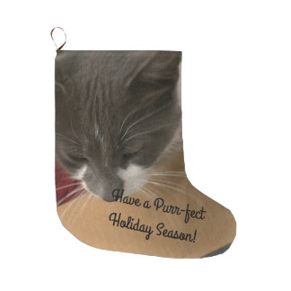 Cat in the Box Large Christmas Stocking