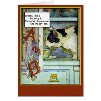 Cat in the Cupboard with ABC's Greeting Card