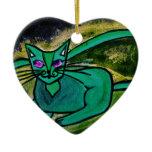 Cat in the dark ceramic ornament