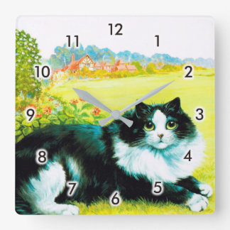 Cat in the Flower Garden, Louis Wain Square Wall Clock