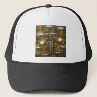 Cat in the forest trucker hat