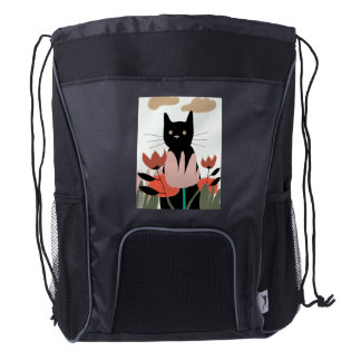 Cat in the garden art on a backpack