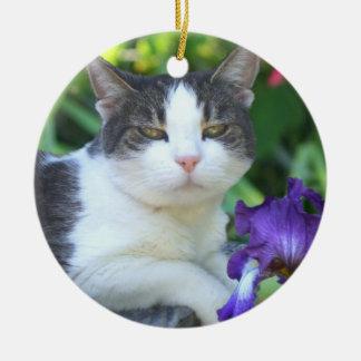 Cat in the garden ceramic ornament