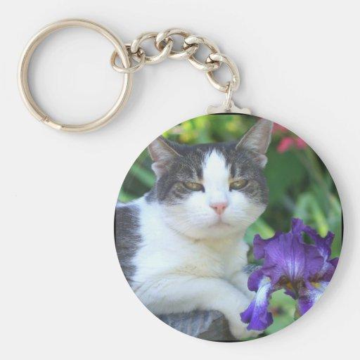 Cat in the garden keychain