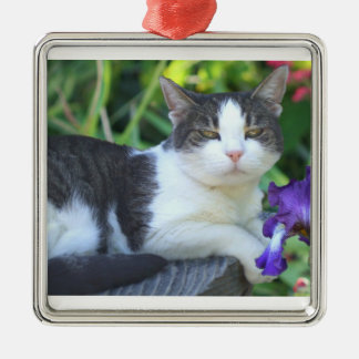 Cat in the garden metal ornament