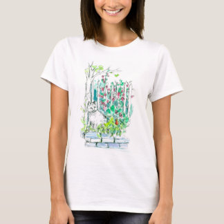 Cat in the Garden Pen and Ink Watercolor Sketch T-Shirt