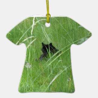 Cat In The Grass Double-Sided T-Shirt Ceramic Christmas Ornament