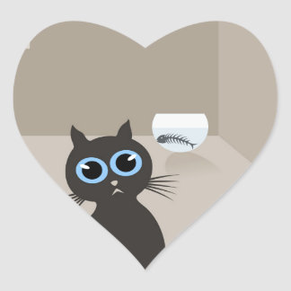 Cat in the house heart sticker