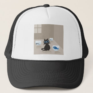 Cat in the house trucker hat