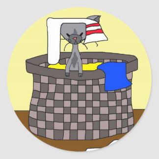 Cat in the Laundry (Meet the Mews) Round Sticker