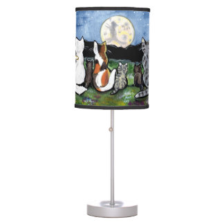 """Cat in the Moon"" Cat Friends in Night Scene, Lamp"