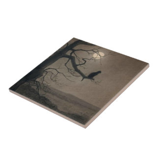 Cat in the Moonlight, , Alexandre Steinlen Tile