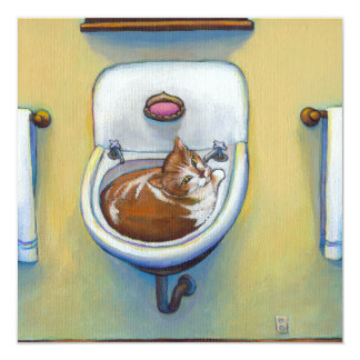 Cat in the sink painting fun happy whimsical art card